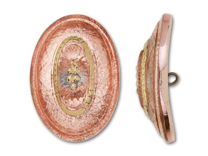 33x23mm Czech Glass Oval Nest Design Peach with Gold Button by Raven's Journey