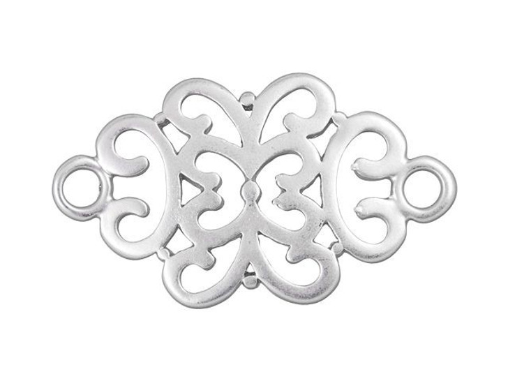 34 x 20mm Rhodium-Plated Pewter Filigree Link
