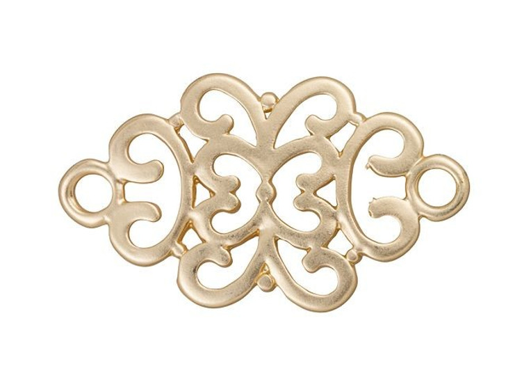 34 x 20mm Satin Hamilton Gold-Plated Pewter Filigree Link