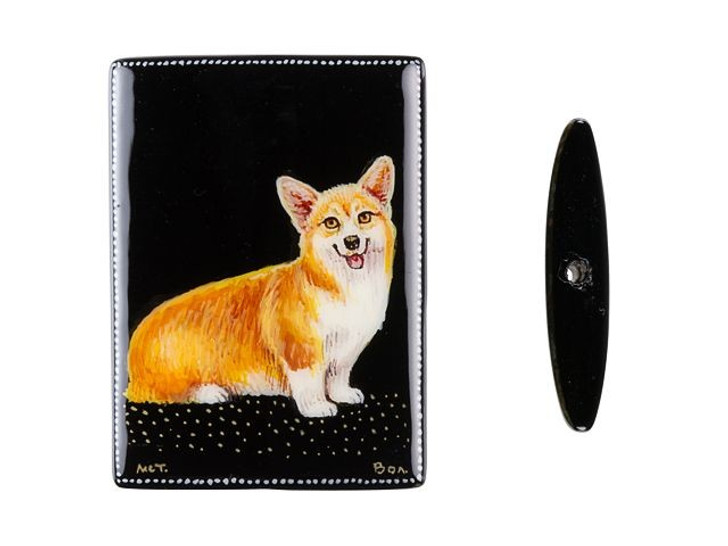 35 x 25mm Corgi on Black Agate Rectangle Bead