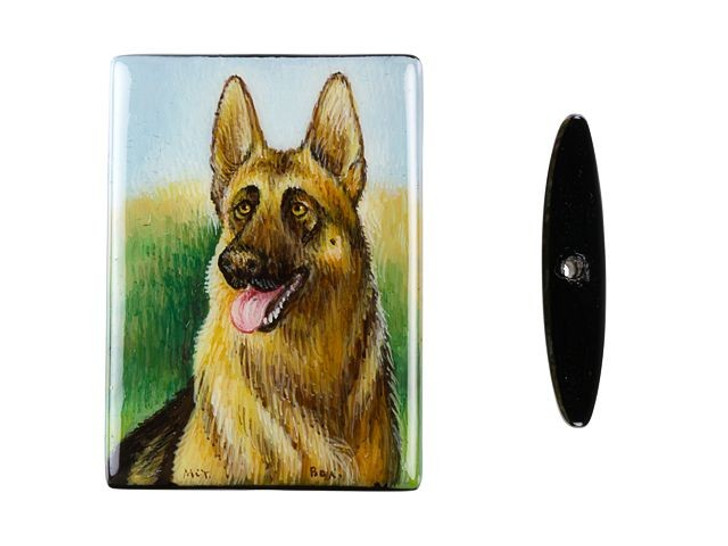 35 x 25mm German Shepherd in a Field on Black Agate Rectangle Bead