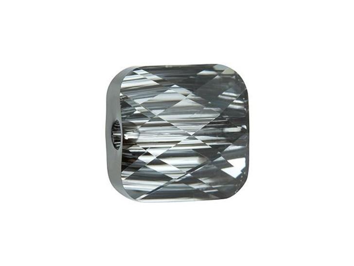 Swarovski 5053 8mm Mini Square Bead Crystal Silver Night