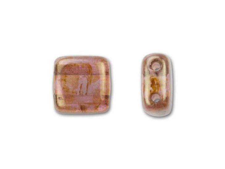 CzechMates Glass 6mm Rose-Gold Topaz Luster Two-Hole Tile Bead
