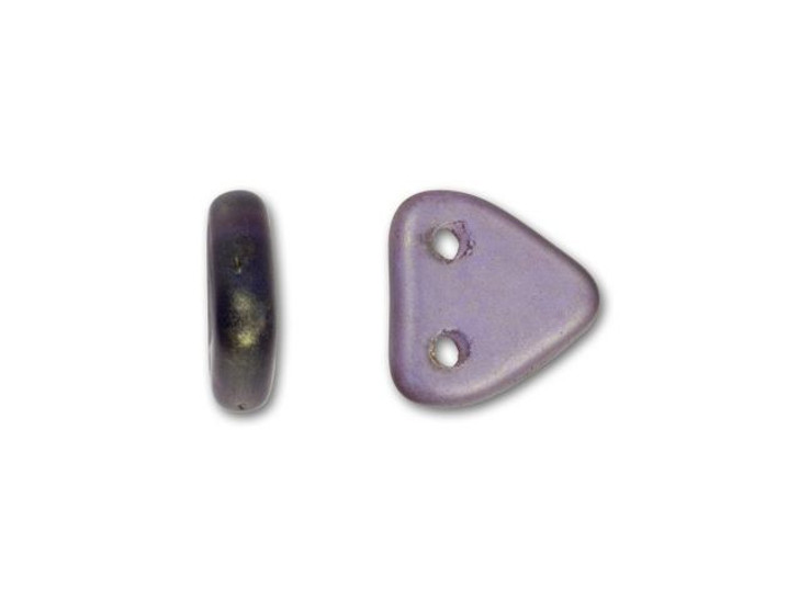 CzechMates Glass 6mm Sapphire with Copper Picasso Two-Hole Triangle Bead Pack 2.5-Inch Tube
