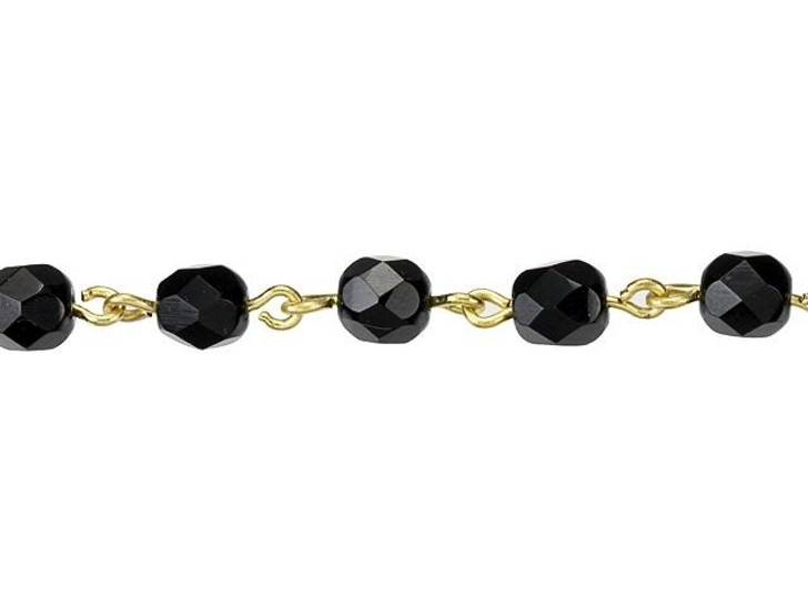 Beadlinx Jet Fire-Polished Glass Beaded Gold-Plated Chain by the Foot