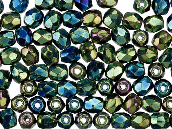 3mm Czech Glass Opaque Green and Blue Peacock Finish Faceted Round Bead Strand by Raven's Journey