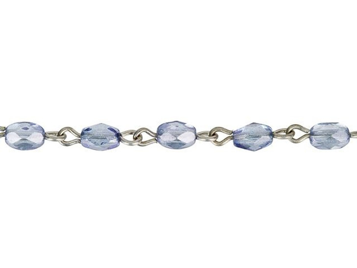 Beadlinx Lumi Blue Fire-Polished Glass Oval Beaded Antiqued Silver-Plated Chain By the Foot