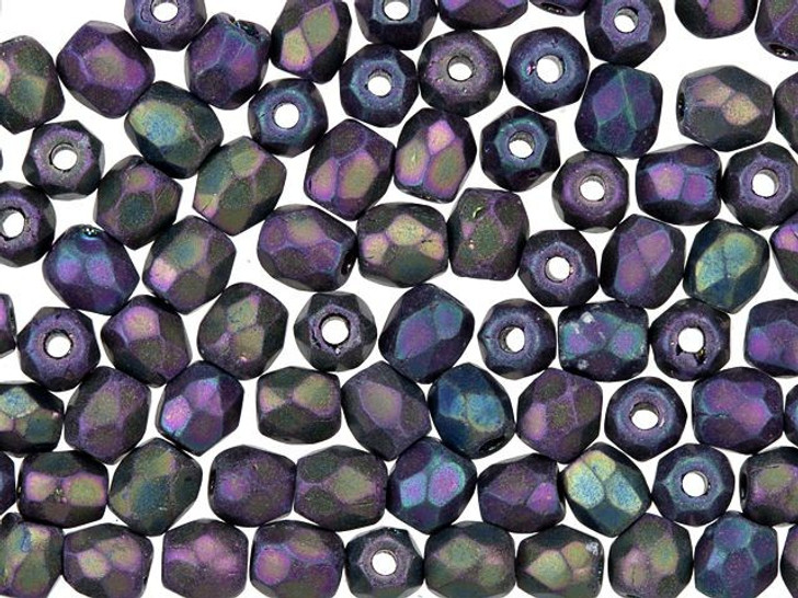 3mm Czech Glass Opaque Purple and Green Peacock with Purple Iris Faceted Round Bead Strand by Raven's Journey