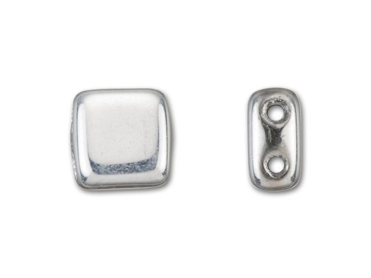 CzechMates Glass 6mm Silver Two-Hole Tile Bead