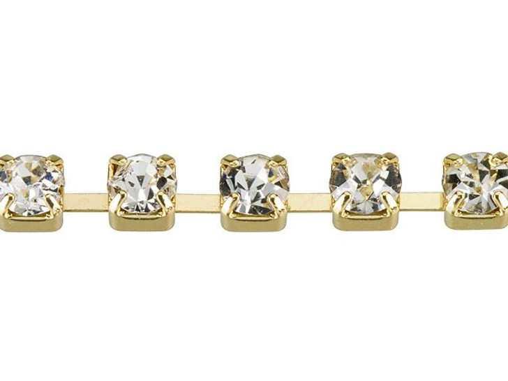 3mm Gold-Plated Brass Crystal Rhinestone Cup Chain By the Foot