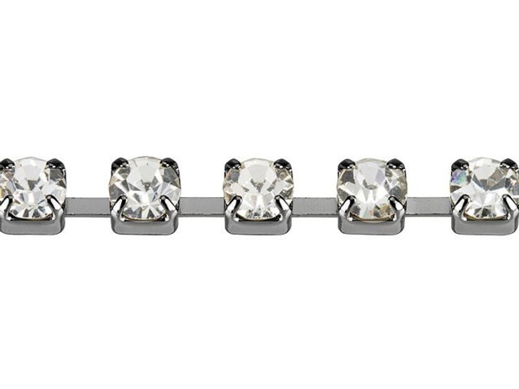 3mm Gunmetal-Plated Brass Crystal Rhinestone Cup Chain By the Foot