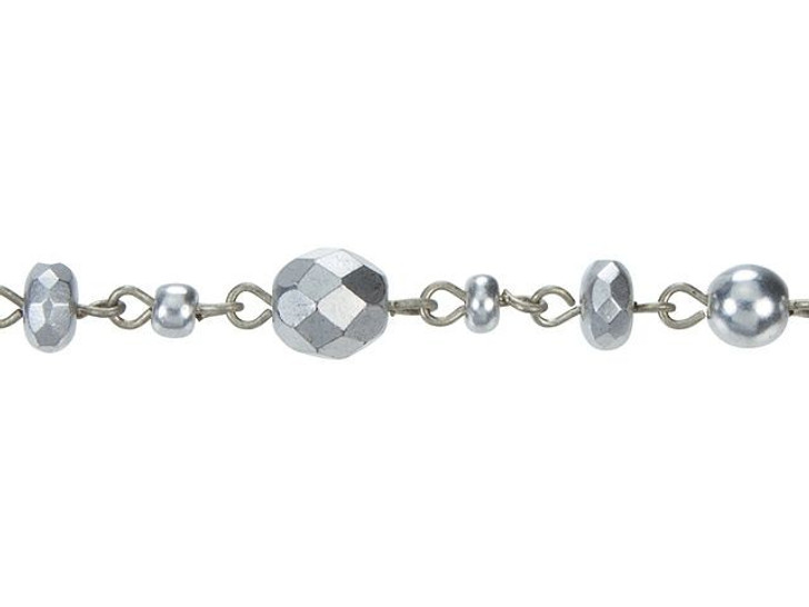 Beadlinx Silverado Beaded Antique Silver-Plated Chain By the Foot