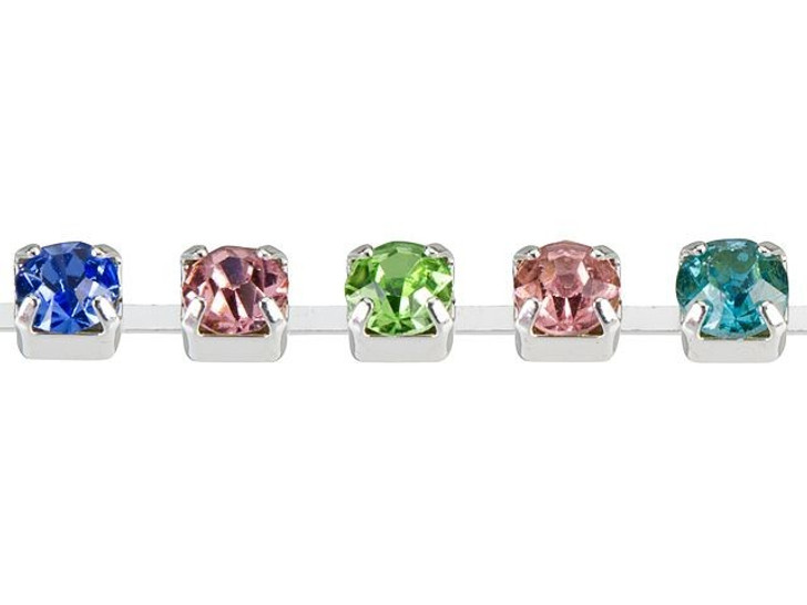 3mm Silver-Plated Brass Multi-Colored Crystal Rhinestone Cup Chain By the Foot