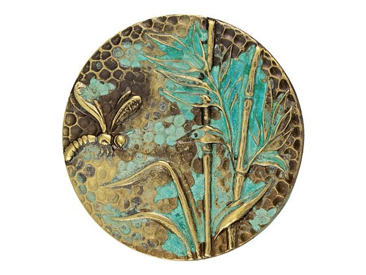 Brass Dragonfly Disc Embellishment with Patina