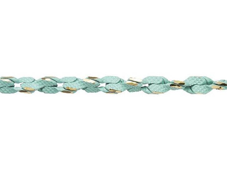 3mm Turquoise and Gold Two-Tone Rope Chain by the Foot