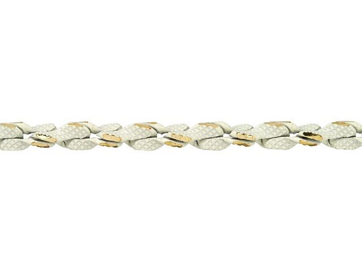 3mm White and Gold Two-Tone Rope Chain by the Foot