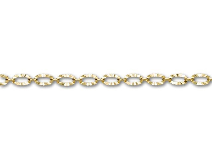 3x4.8mm Gold-Plated Textured Oval Link Chain By the Foot
