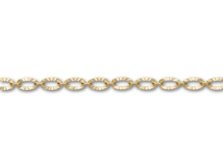 3x4.8mm Satin Hamilton Gold-Plated Textured Oval Link Chain By the Foot
