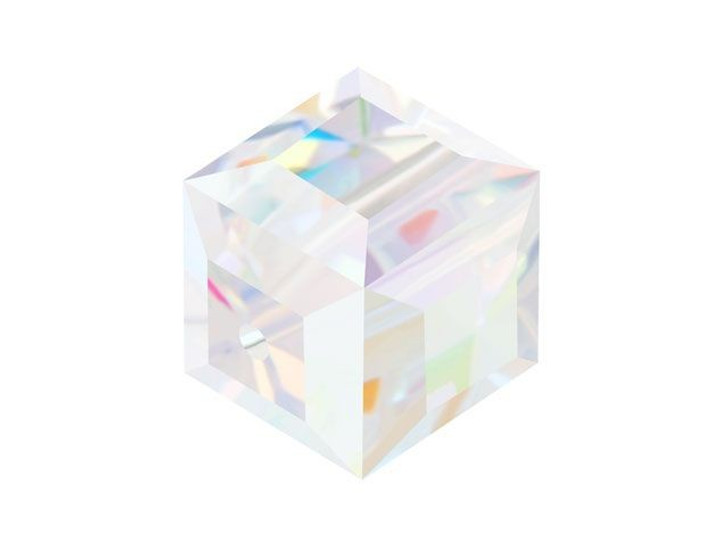 Swarovski 5601 10mm Faceted Cube Crystal AB