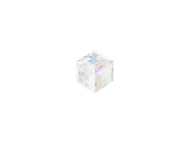 Swarovski 5601 4mm Faceted Cube Crystal AB