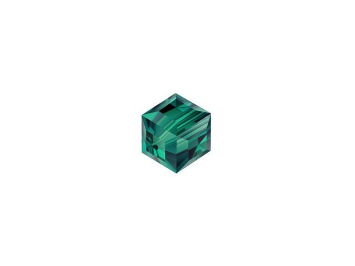 Swarovski 5601 4mm Faceted Cube Emerald