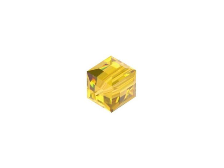 Swarovski 5601 6mm Faceted Cube Light Topaz