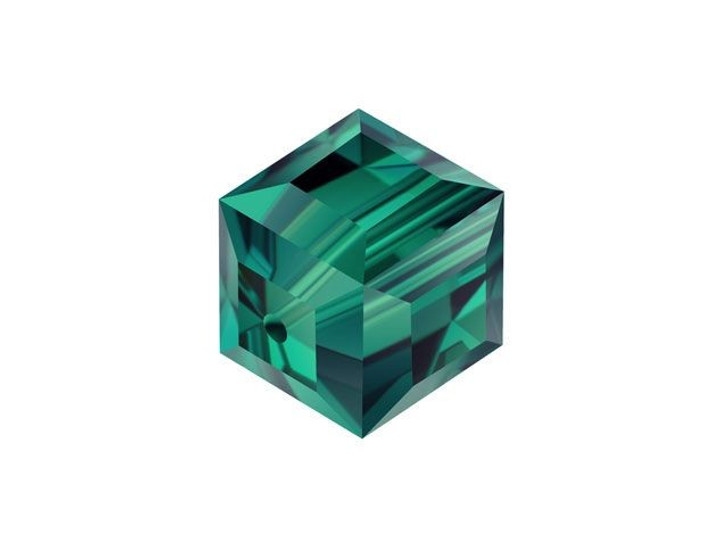 Swarovski 5601 8mm Faceted Cube Emerald