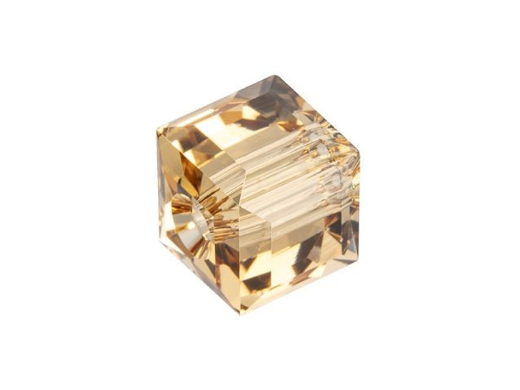 Swarovski 5601 8mm Faceted Cube Light Colorado Topaz