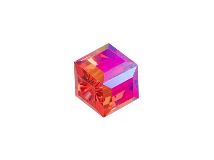 Swarovski 5601 8mm Faceted Cube Light Siam Shimmer B