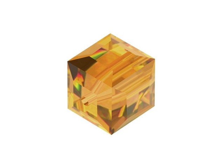 Swarovski 5601 8mm Faceted Cube Topaz