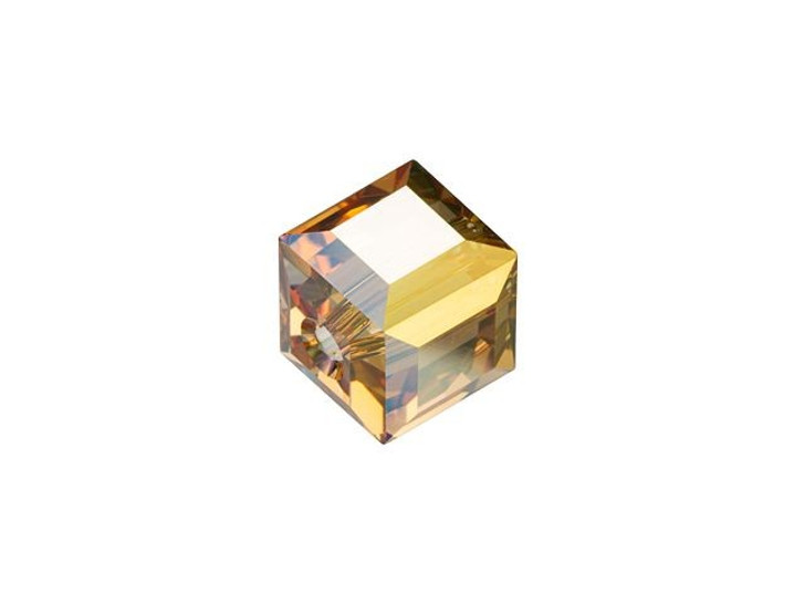 Swarovski 5601 Cube Bead 6mm Crystal Metallic Sunshine
