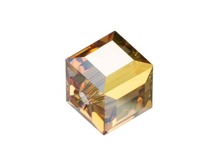 Swarovski 5601 Cube Bead 8mm Crystal Metallic Sunshine