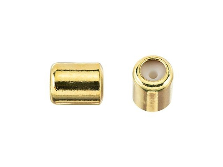 4 x 5mm Gold String-On Barrel Clasp with Silicone Grommet