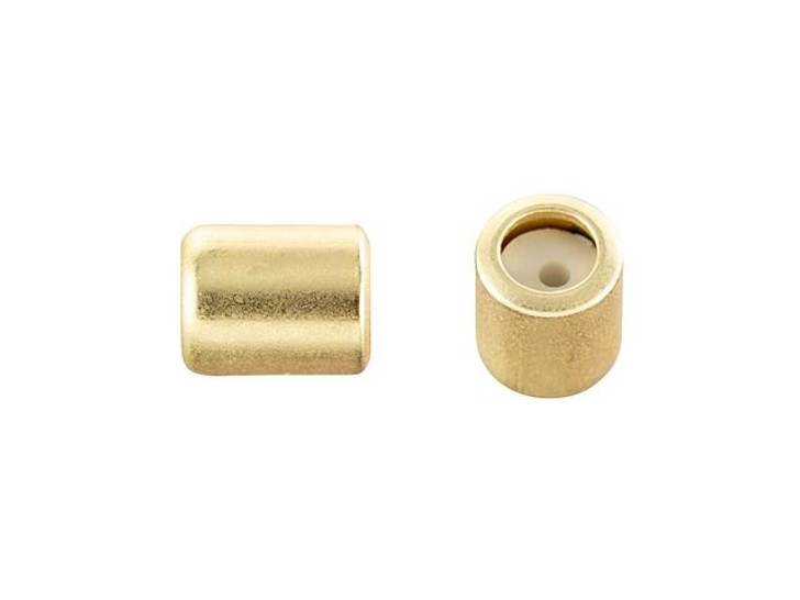 4 x 5mm Satin Hamilton Gold String-On Barrel Clasp with Silicone Grommet