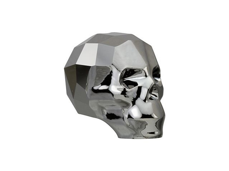 Swarovski 5750 13mm Skull Bead Crystal Silver Night 2X