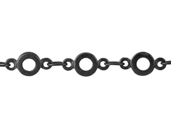 4.5mm Matte Black-Plated Brass Flat O-Link Chain By the Foot