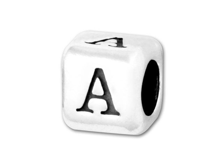 4.5mm Sterling Silver Alphabet Bead - A