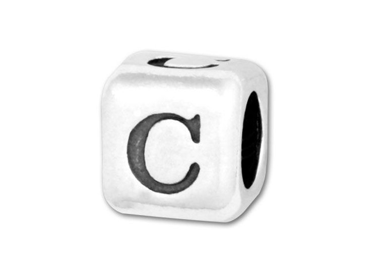 4.5mm Sterling Silver Alphabet Bead - C