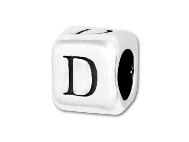 4.5mm Sterling Silver Alphabet Bead - D