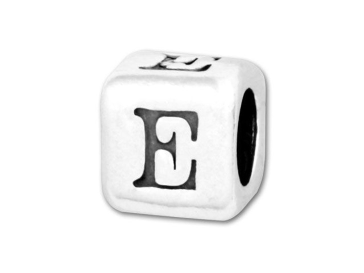 4.5mm Sterling Silver Alphabet Bead - E