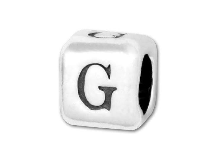 4.5mm Sterling Silver Alphabet Bead - G