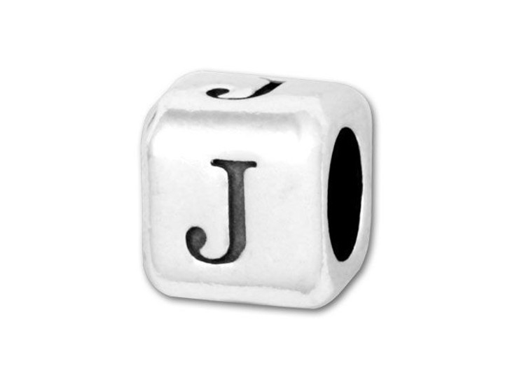 4.5mm Sterling Silver Alphabet Bead - J