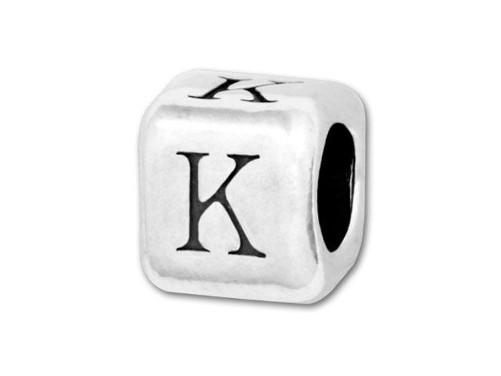 4.5mm Sterling Silver Alphabet Bead - K