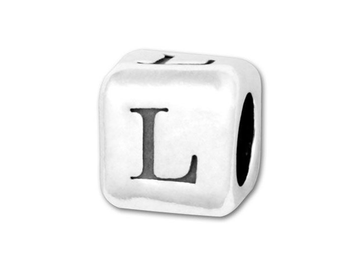 4.5mm Sterling Silver Alphabet Bead - L