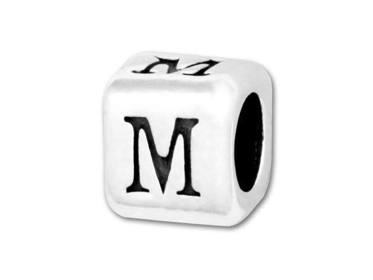 4.5mm Sterling Silver Alphabet Bead - M