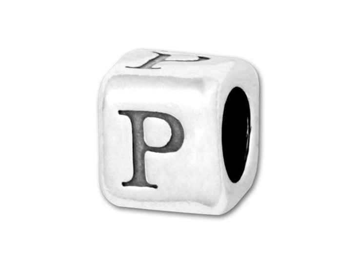 4.5mm Sterling Silver Alphabet Bead - P