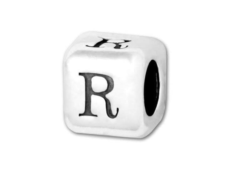 4.5mm Sterling Silver Alphabet Bead - R