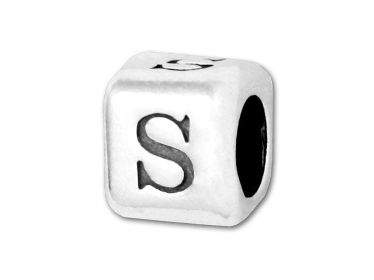 4.5mm Sterling Silver Alphabet Bead - S