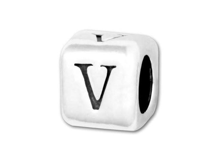 4.5mm Sterling Silver Alphabet Bead - V