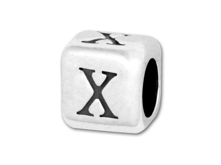 4.5mm Sterling Silver Alphabet Bead - X